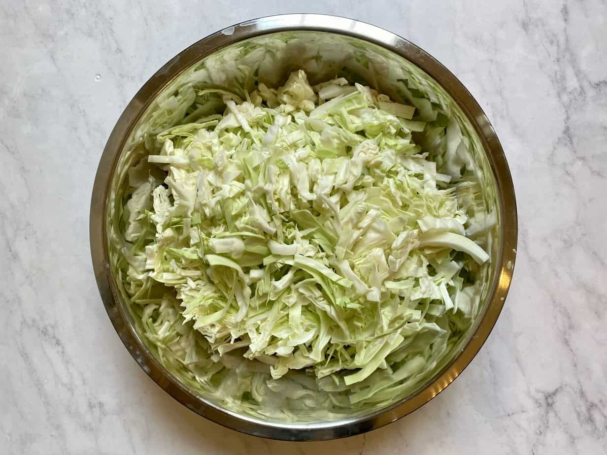 Shredded cabbage in a bowl