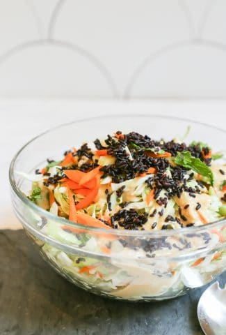 accompaniment salad in a glass bowl with cabbage