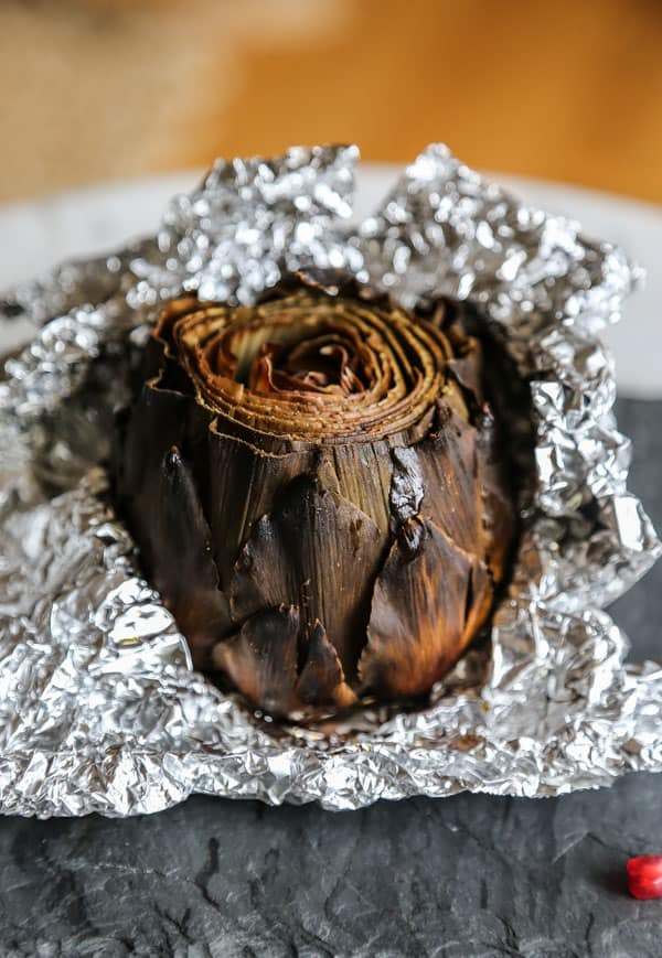 Cooked Artichoke unwrapped from aluminum foil