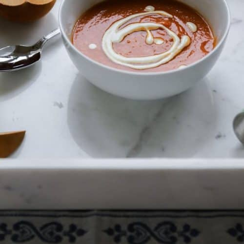 dairy free tomato soup in a white bowl