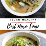 miso soup in a bowl with scallions ginger miso carrots and nori
