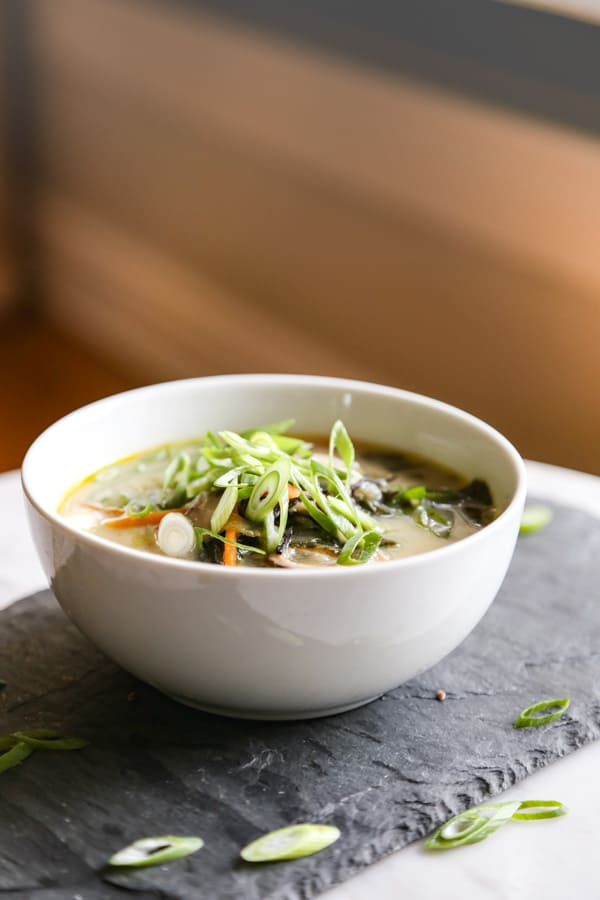 Homemade Miso Soup in a white bowl