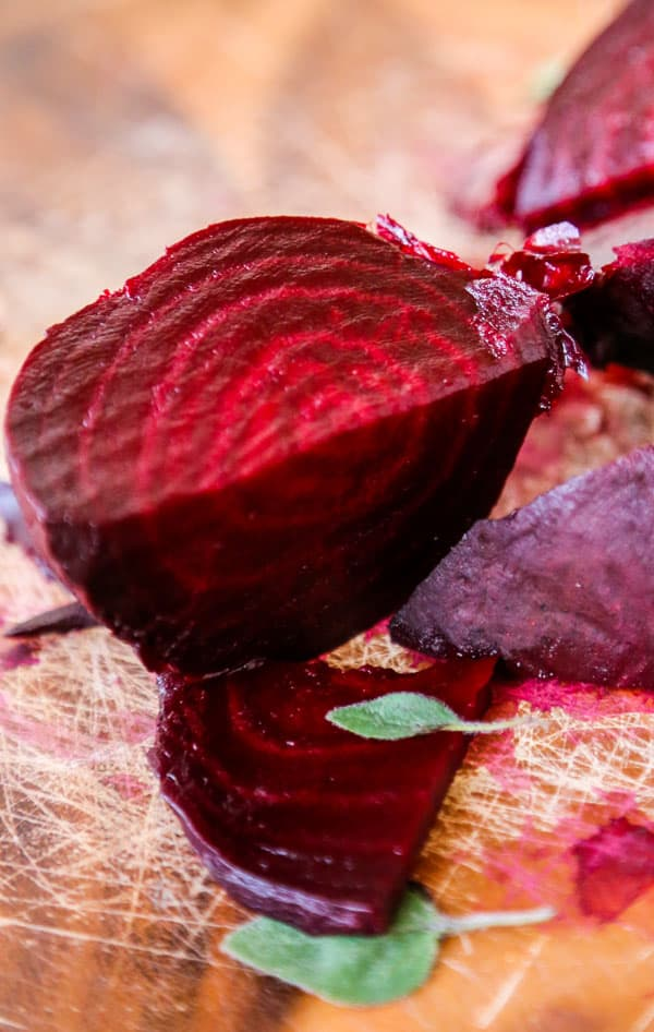 photo of chopped roasted beets on a cutting board.