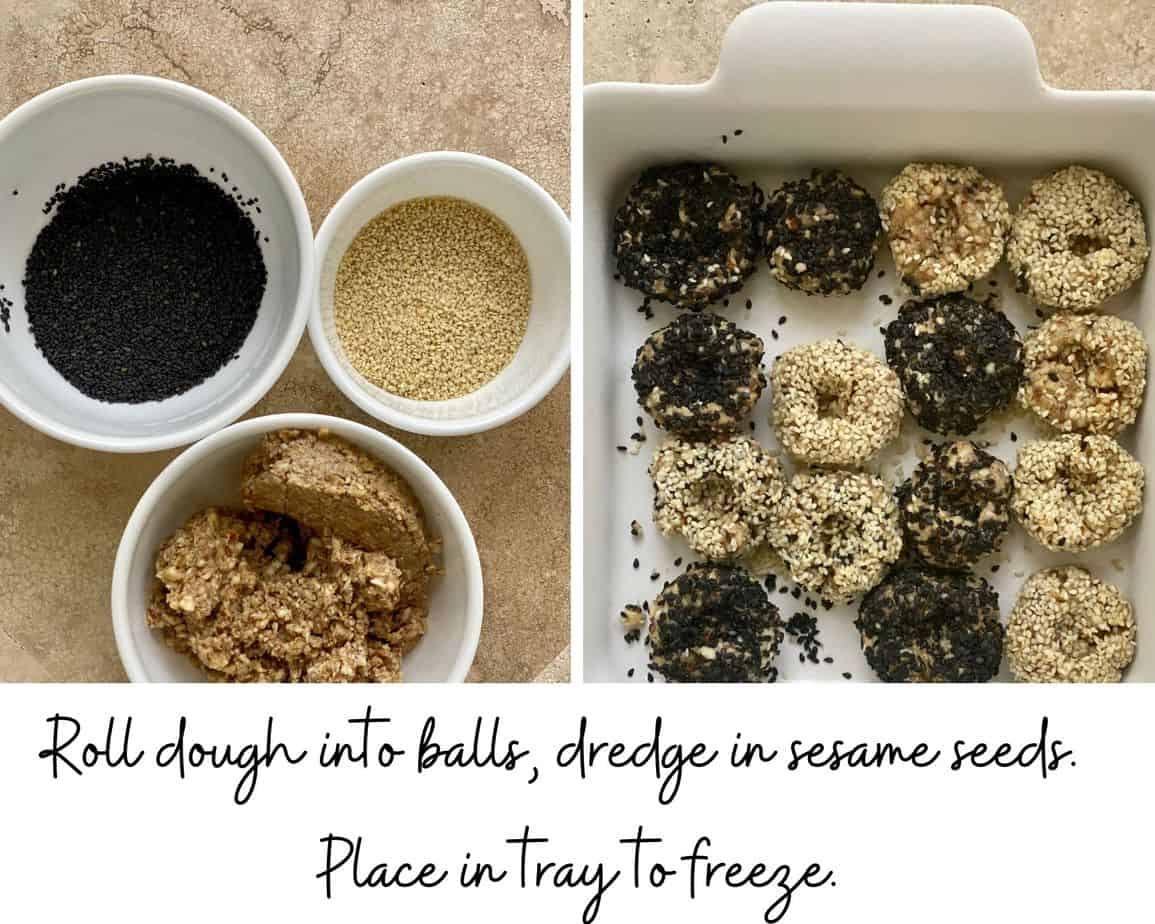 roll the dough into balls and dredge in black and white sesame seeds for vegan tahini cookies