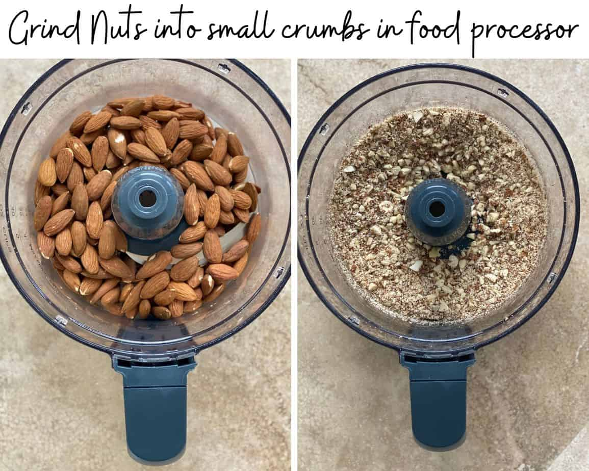 process photo showing almonds whole and then crushed in a food processor