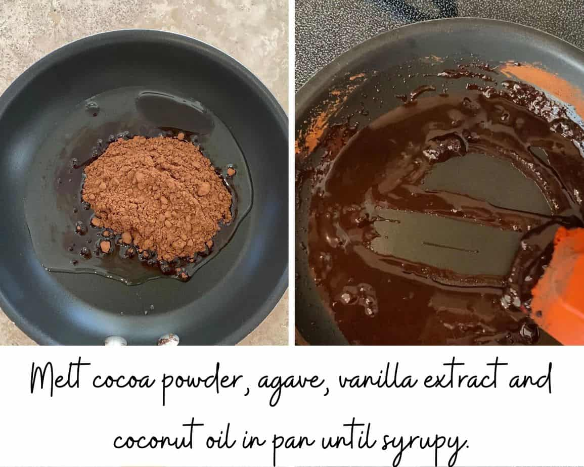 photo of cocoa powder, agave and coconut oil in a pan and another photo of the chocolate syrup cooked