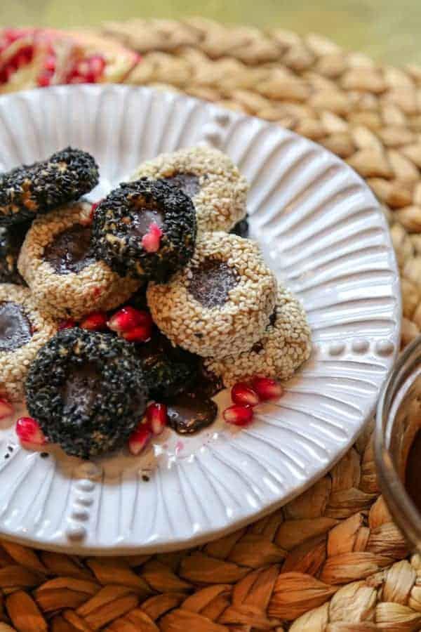 vegan tahini cookies on a plate