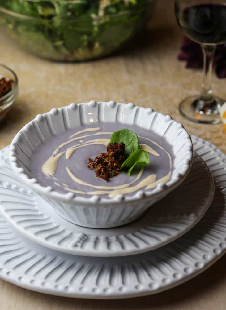 simple cauliflower soup with sun-dried tomato tapenade