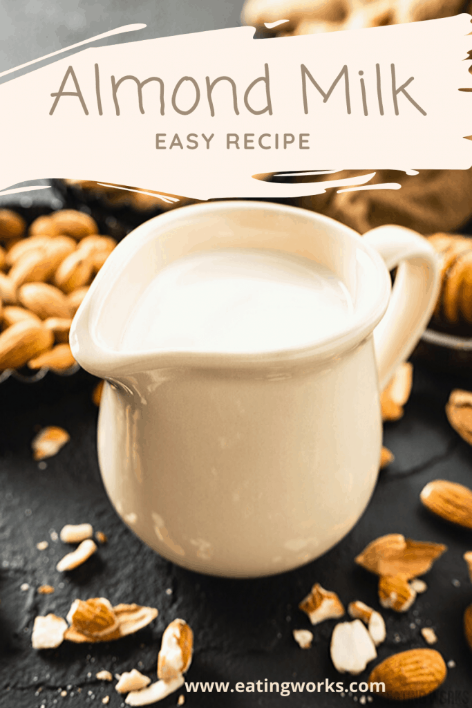 cup of almond milk with almonds and honey