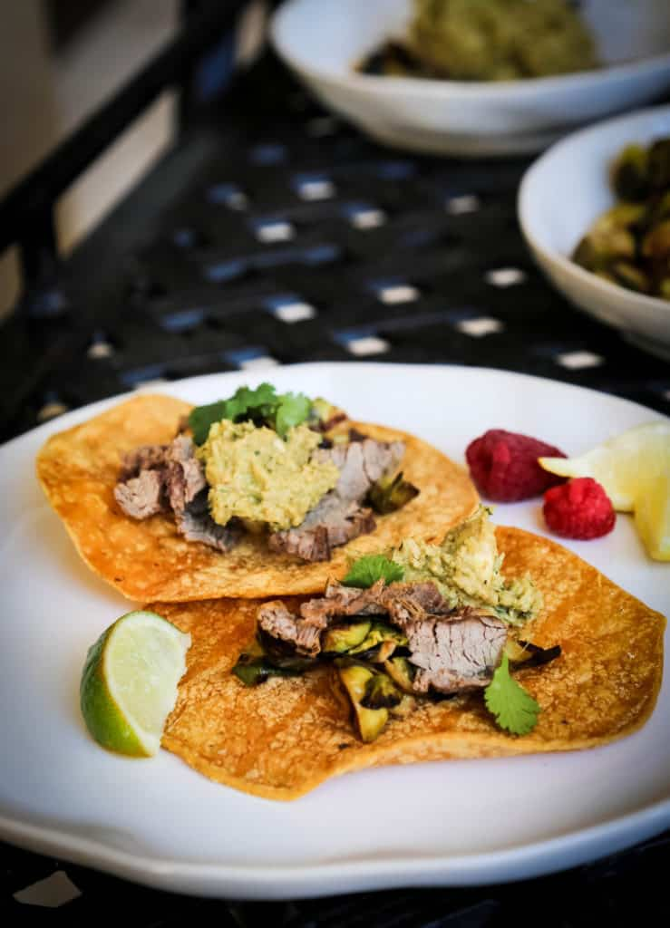 Steak Tacos with Brussels sprouts and Avocado Hummus