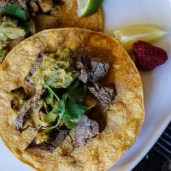 Flank Steak Tacos, Flank Steak Tacos with Brussels Sprouts Tacos Jalapeño Avocado Humus  (GF)