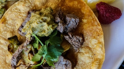 Steak Tacos with Brussels sprouts and Jalapeño Avocado Hummus