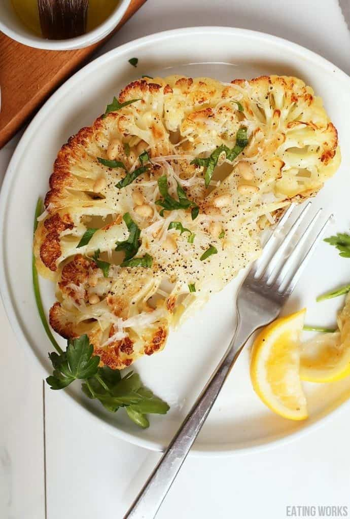 Grain Free Vegan Dinner Recipe Cauliflower Steak with Peppercorns and Lemon