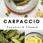 bowl of zucchini carpaccio with peeled zucchini and shaved manchengo cheese