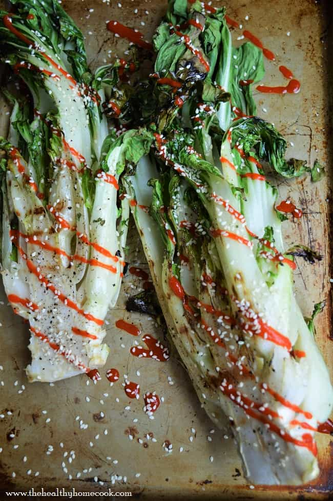 grilled sesame bok choy from above