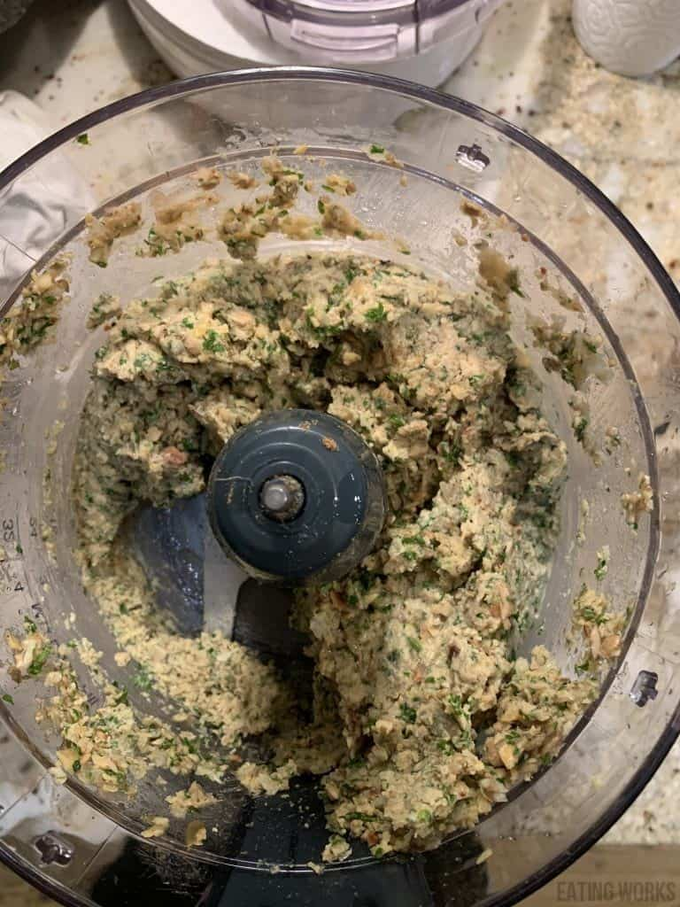 ingredients for gluten free falafel in a food processor