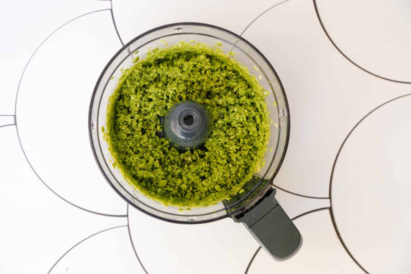 vegan pea pesto with mint crostini from above