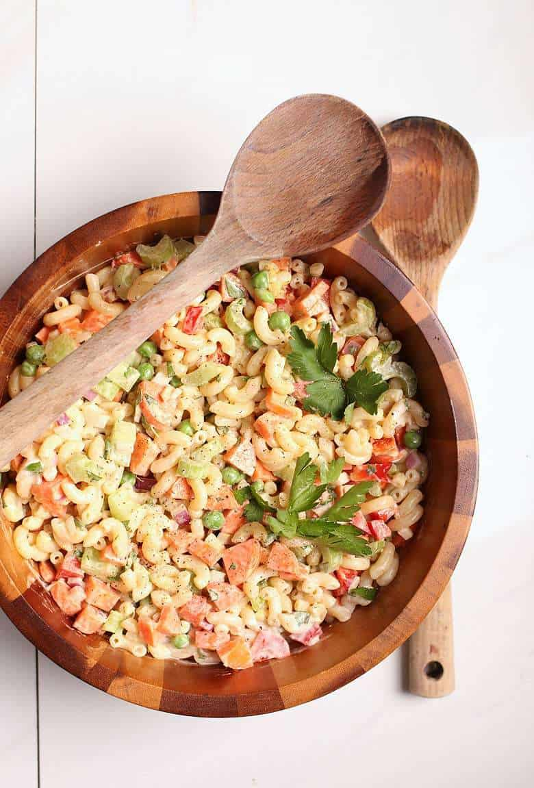 a bowl of vegan macaroni salad for vegan bbq