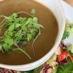 pin of bowl of vegan mushroom soup