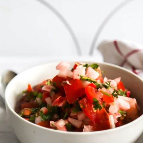 pin of vegan ceviche with vine ripe tomatoes