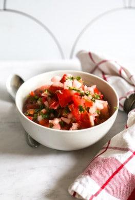 vegan ceviche in a white bowl