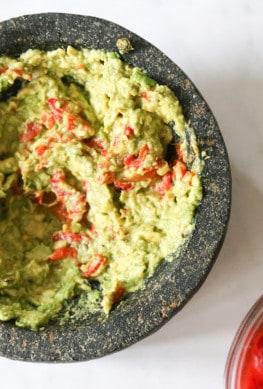 healthy guacamole in mortar and pestle