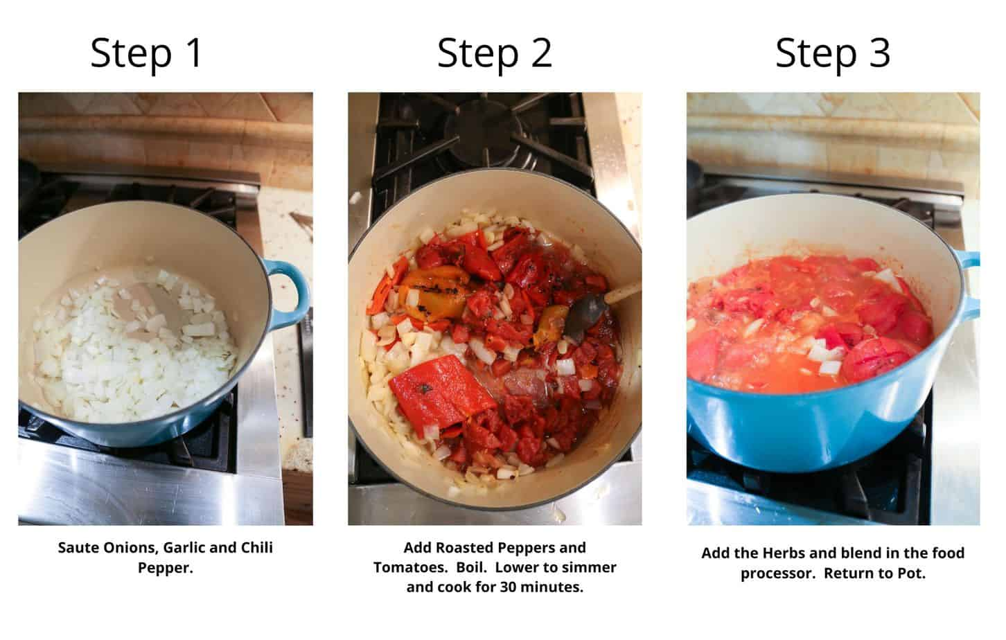 step by step to make roasted red pepper sauce for baked eggplant parmesan