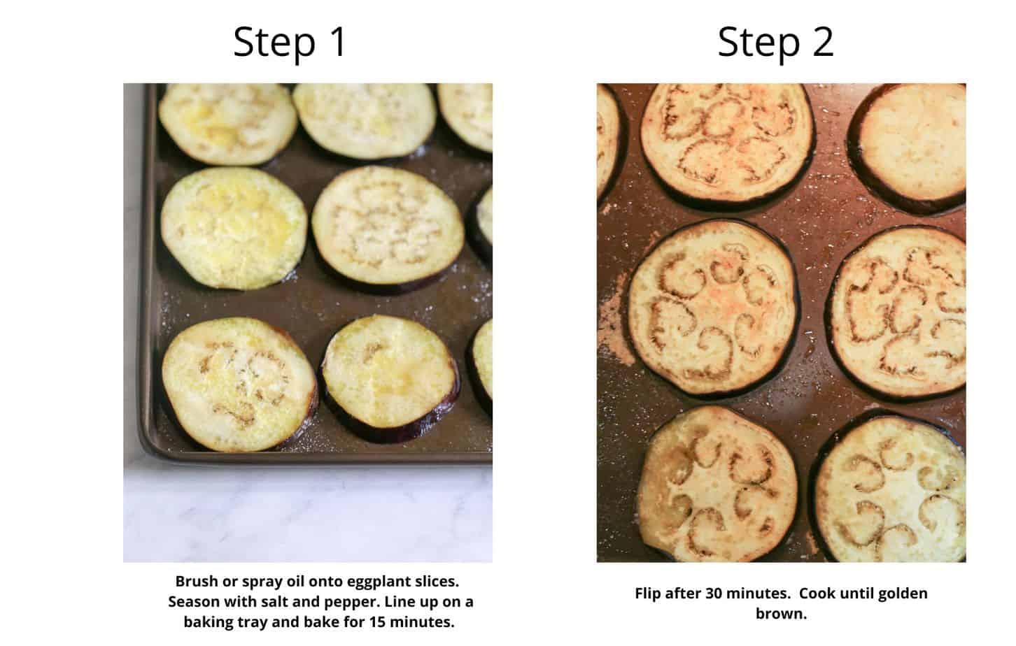 Step by step to make roasted eggplant for baked eggplant parmesan