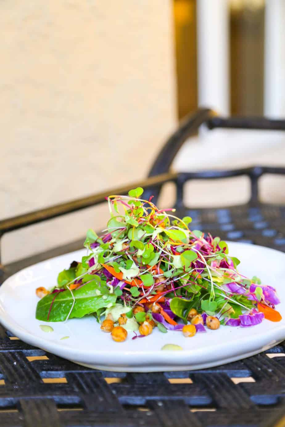 microgreen salad with chickpea crutons edited