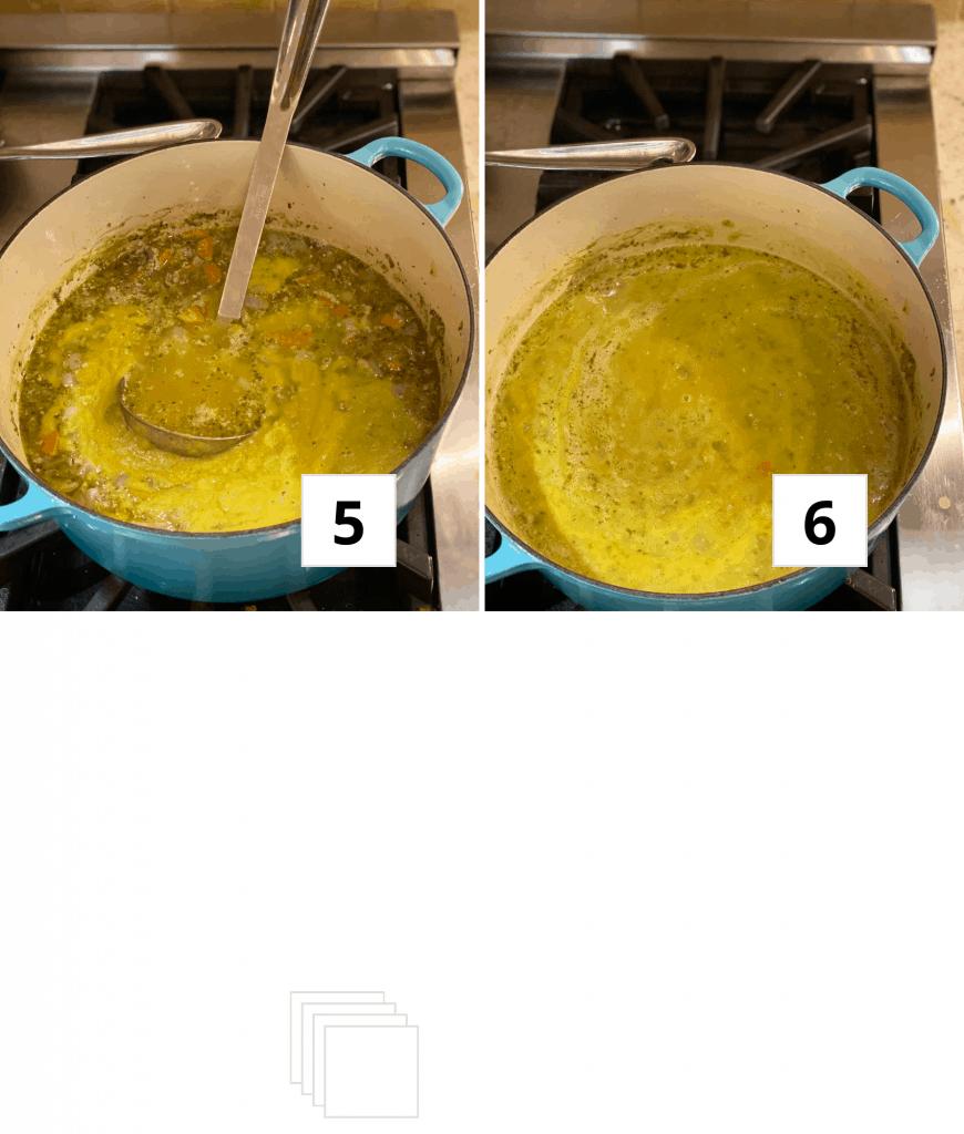 Vegan Split pea soup in a white bowl