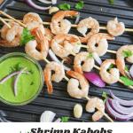pin for shrimp kabob with vegan aji verde sauce