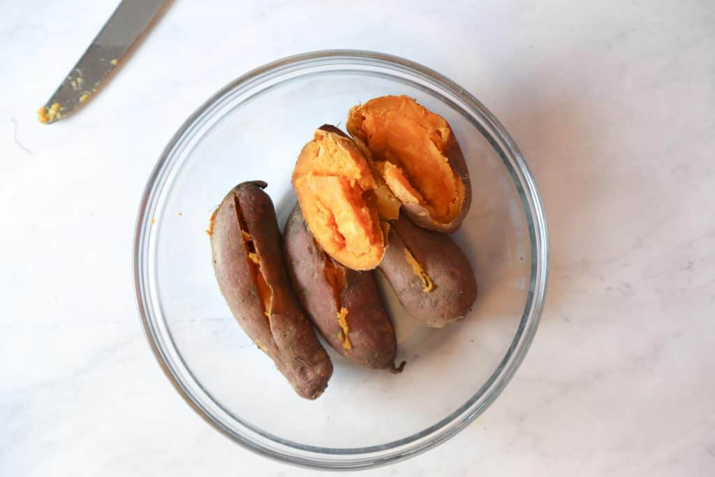 Step one microwave sweet potatoes for 15 minutes and slice them in half