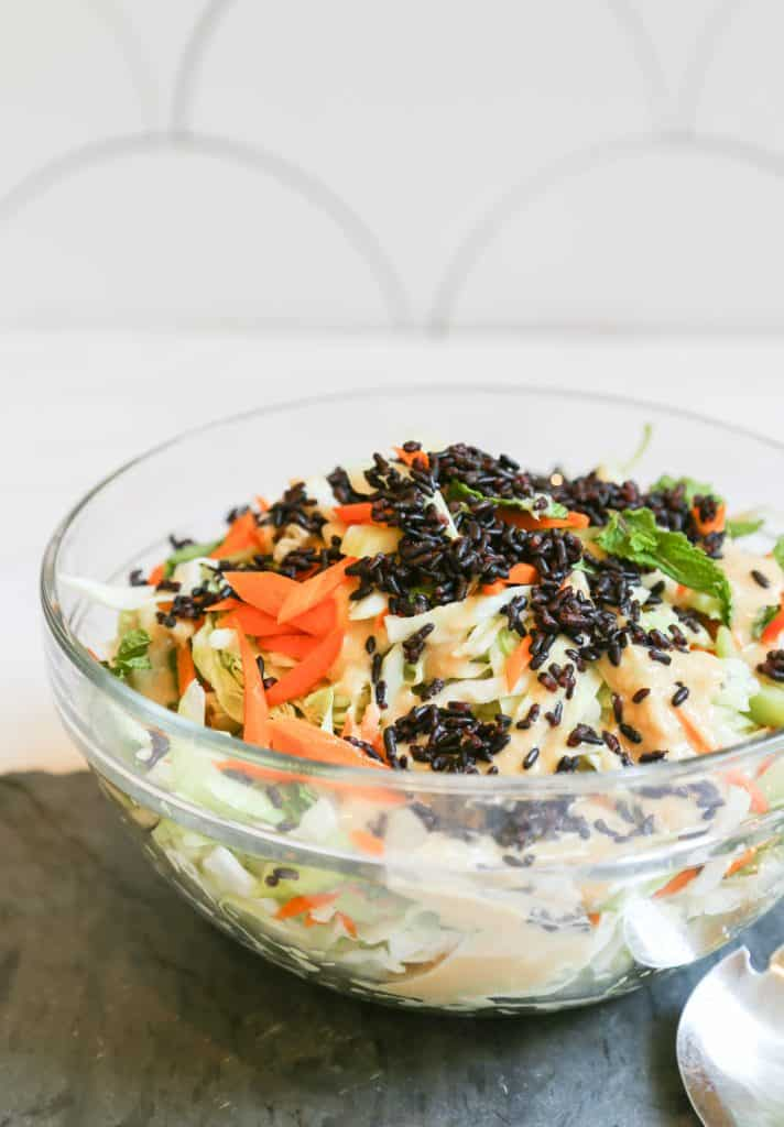 accompaniment salad, Accompaniment Salad With Cabbage and Miso Dressing