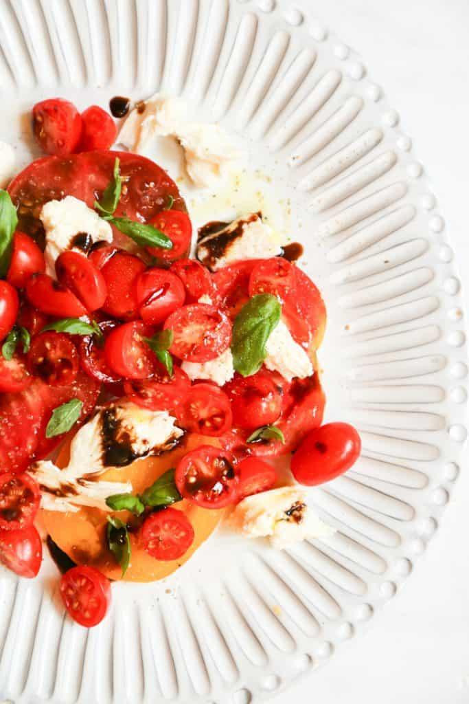 Caprese Salad Keto on a white plate