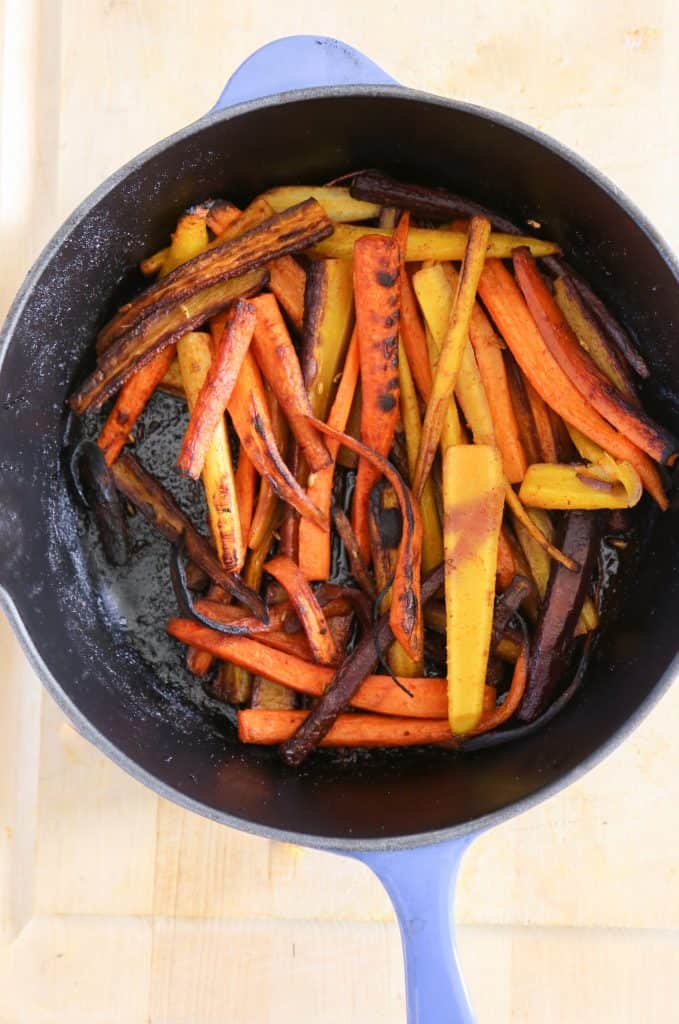 rainbow roasted carrots in a pan