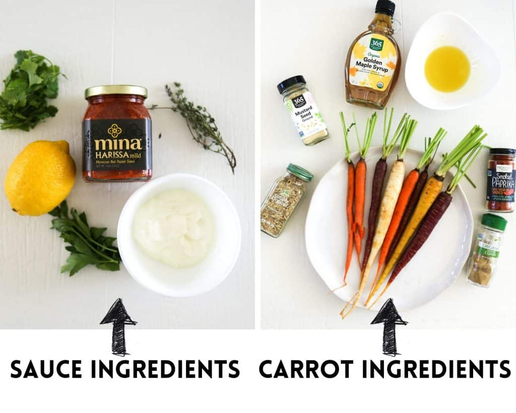 ingredients needed to make roasted rainbow carrots, harissa, lemon, rainbow carrots, spices, herbs and maple syrup