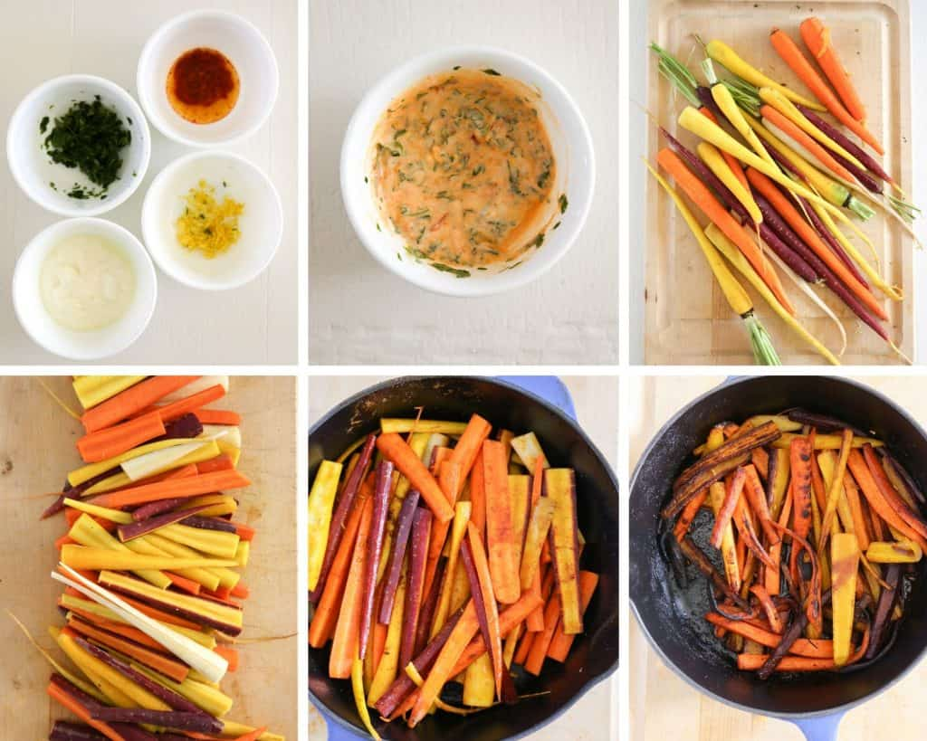 step by step photo collage of how to make roasted rainbow carrots from start to Finnish