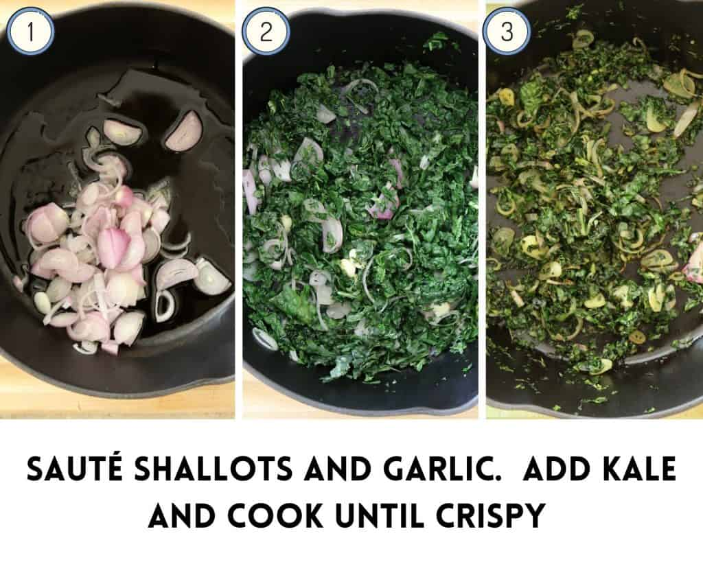 process photo for parsnip mash how to saute shallots and kale