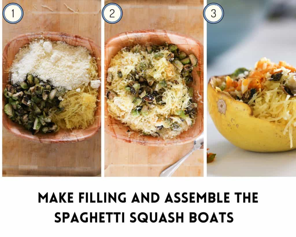 step by step photos showing how to make the filling and assemble the vegetarian spaghetti squash boats.