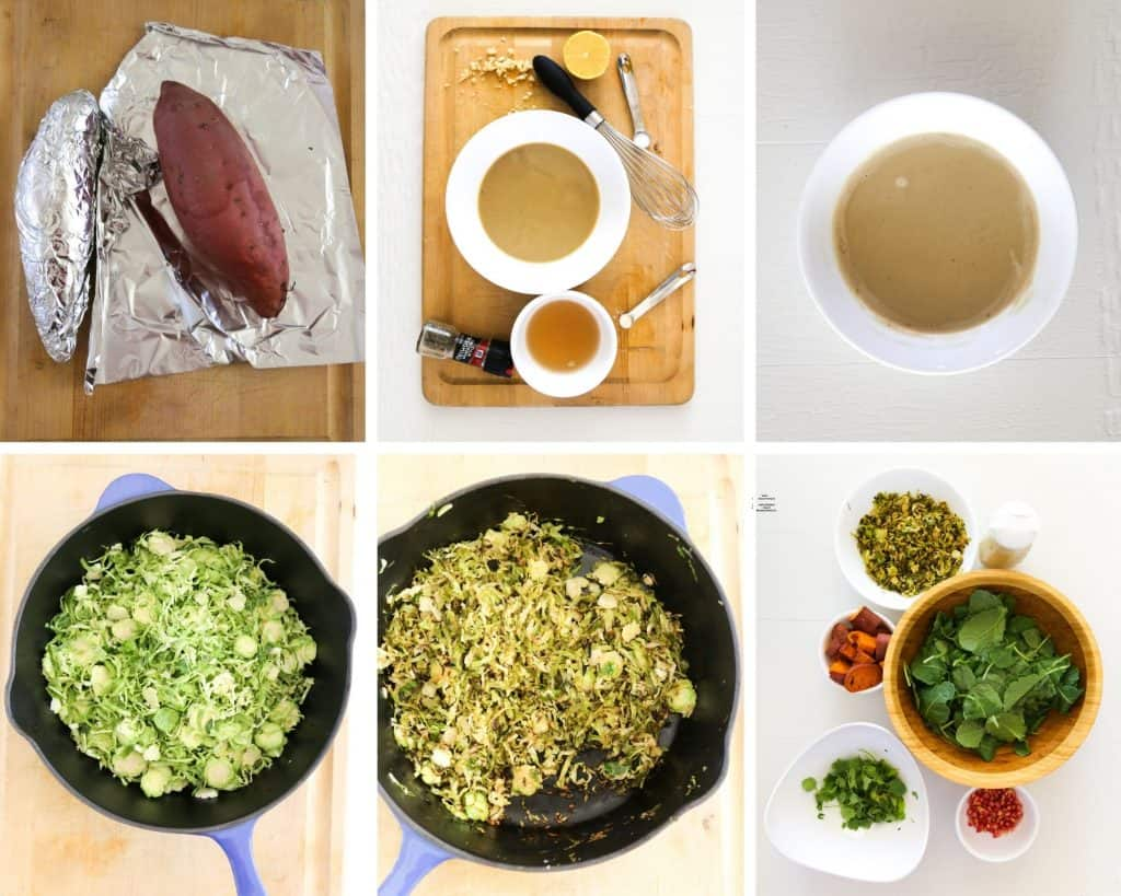 how to make Brussels sprout salad vegan step by step photo collage