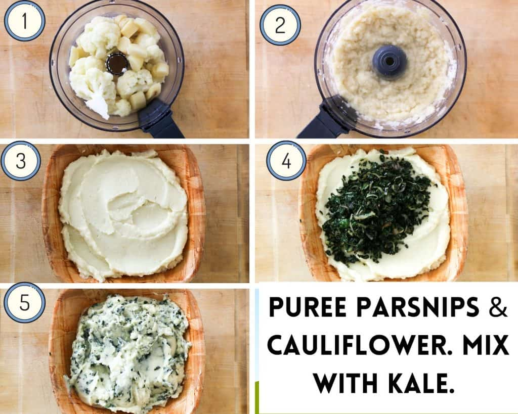 process shot for parsnip mash how to puree parsnip and cauliflower until smooth and combine with kale and shallots