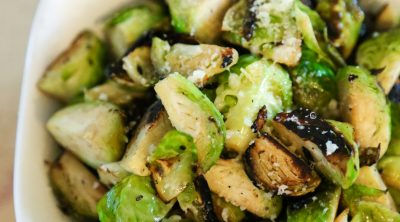 sautéed Brussels sprouts in a white bowl
